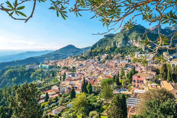 View of Taormina, Sicily from above