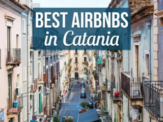 View of Catania apartments in Sicily with text overlay: Best Airbnbs in Catania