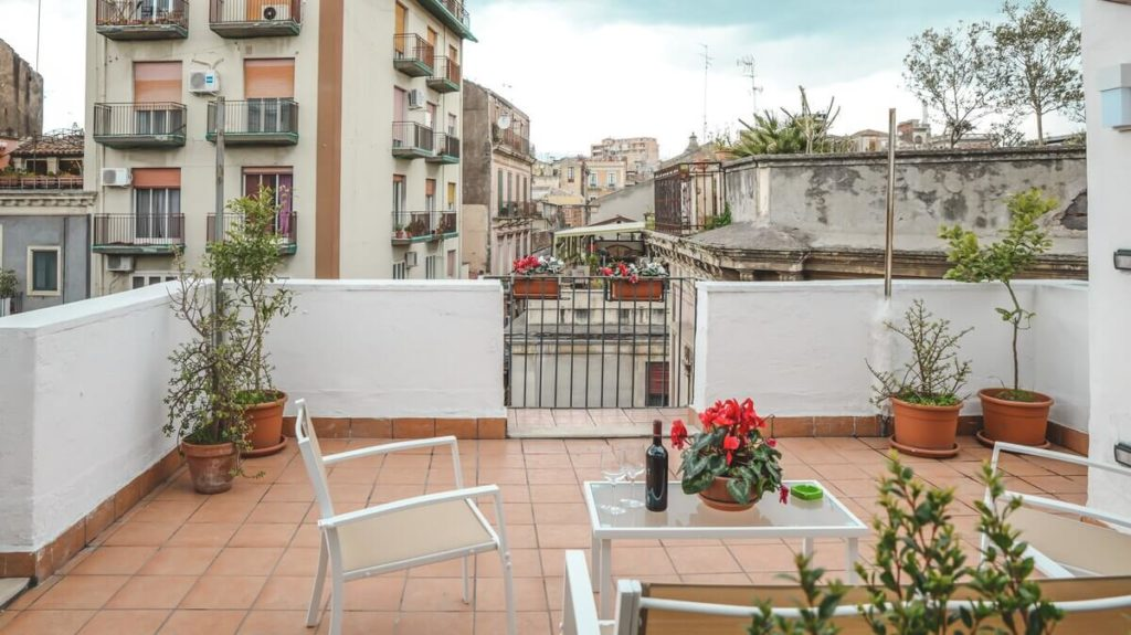 Large terrace in Catania Sicily with views of Mount Etna