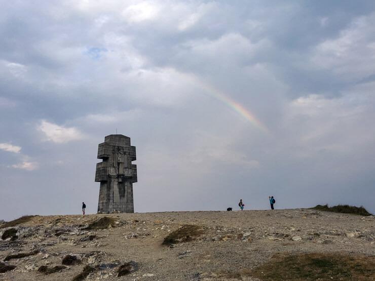 Cross of Pen-Hir and a rainbow