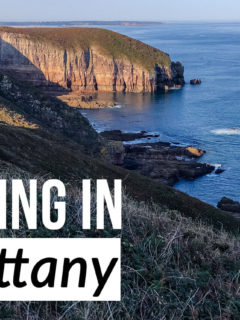 Cliff views with text overlay: Hiking in Brittany