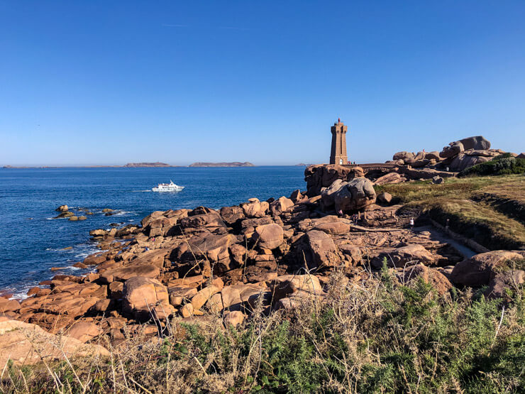 A lighthouse on the Pink Granite Coast built from pink rock