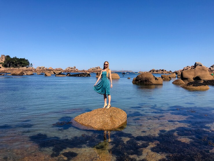Veronika posing on a rock in Ploumanac'h Brittany