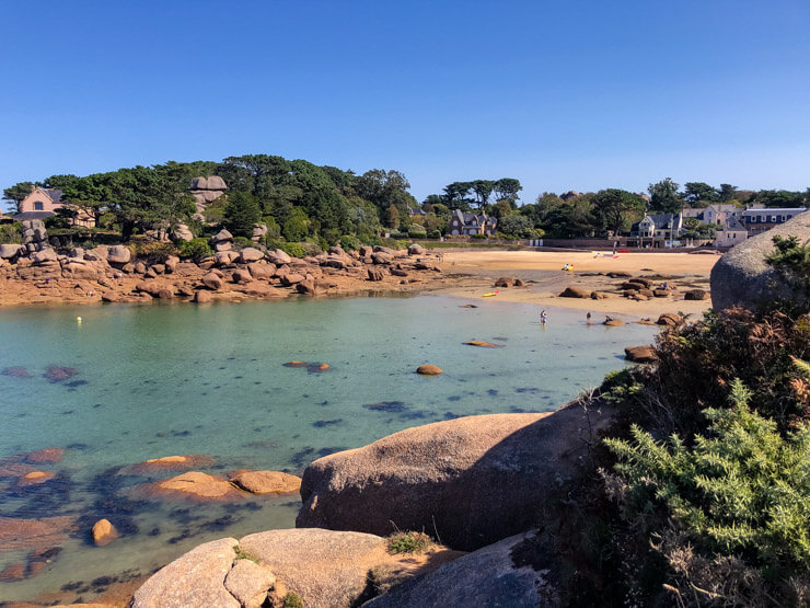 Saint-Guirec Beach in Brittany at high tide