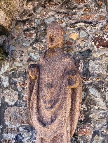 A statue of a Welsh Monk Saint-Guirec without a nose