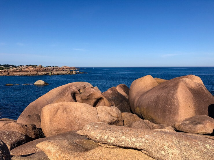 Rocks of the Pink Granite Coast with face shapes