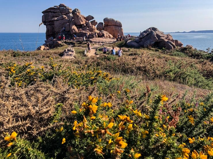 Rock formations on the Pink Granite Coast in Brittany