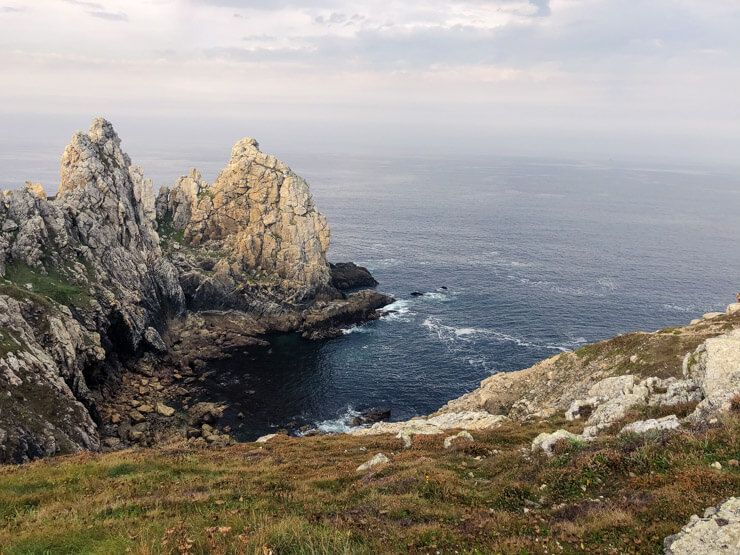 Views of cliffs along the GR34 Coastal Path in Crozon Peninsula