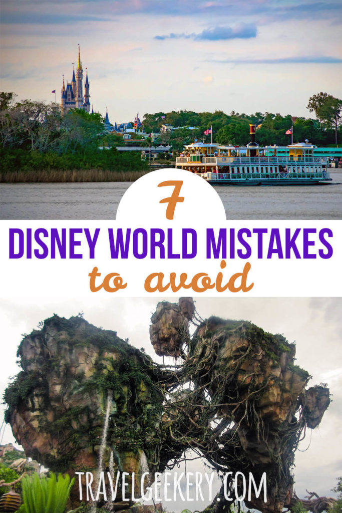 Images from Disney World Orlando with a text overlay: 7 Disney World Mistakes to Avoid