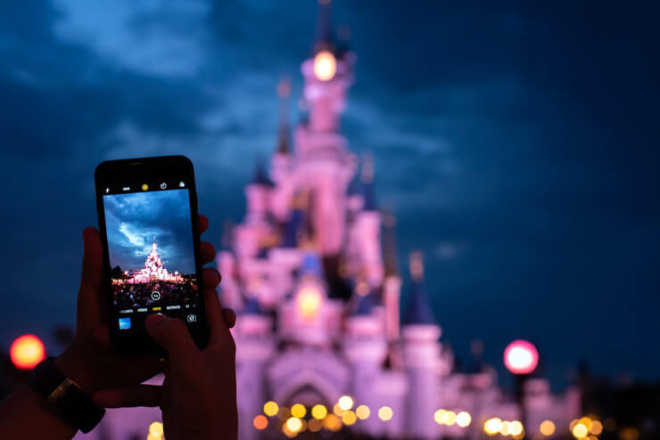 Photographing Magic Kingdom theme park at night