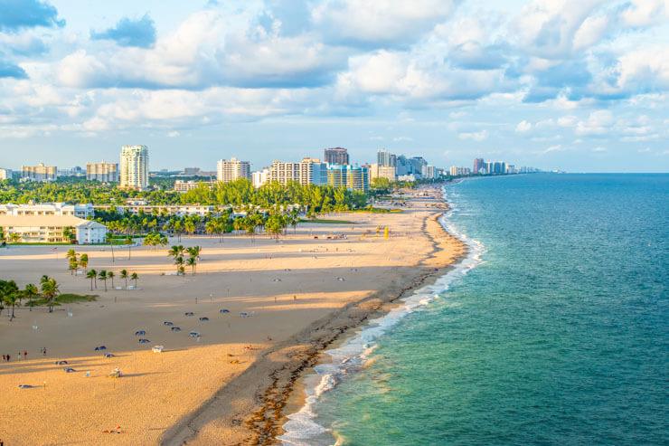 Aierial view of Fort Lauderdale coastline