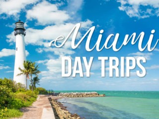 A lighthouse in Florida with text overlay: Miami Day Trips