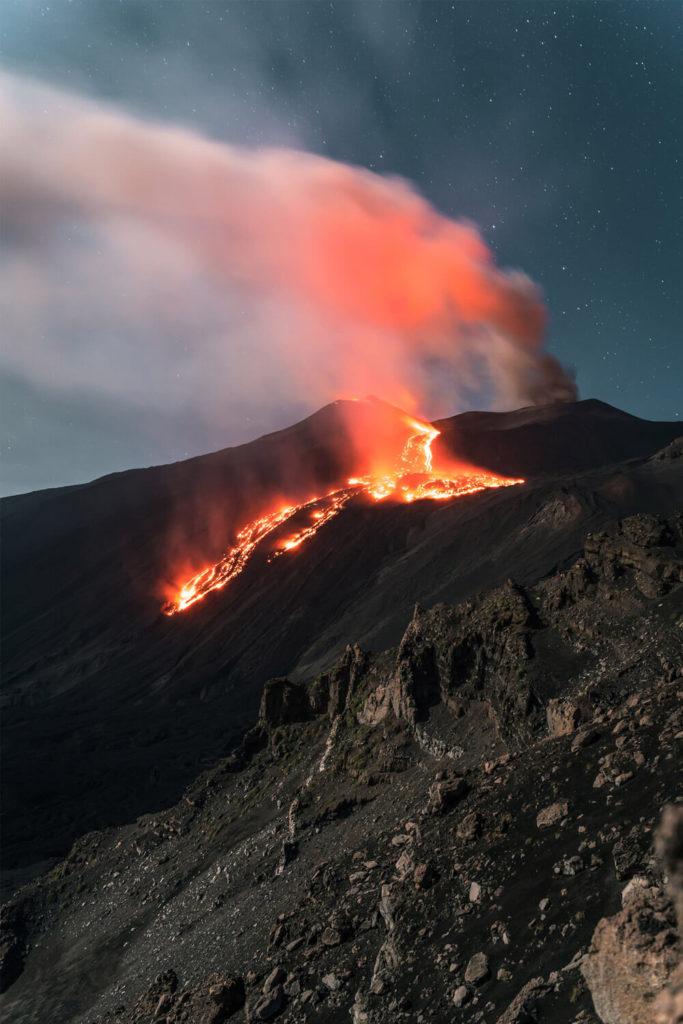 Erupting Etna Volcano in Sicily