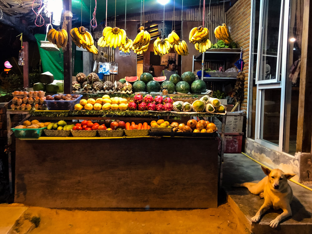 Fruit stand with exotic fruits