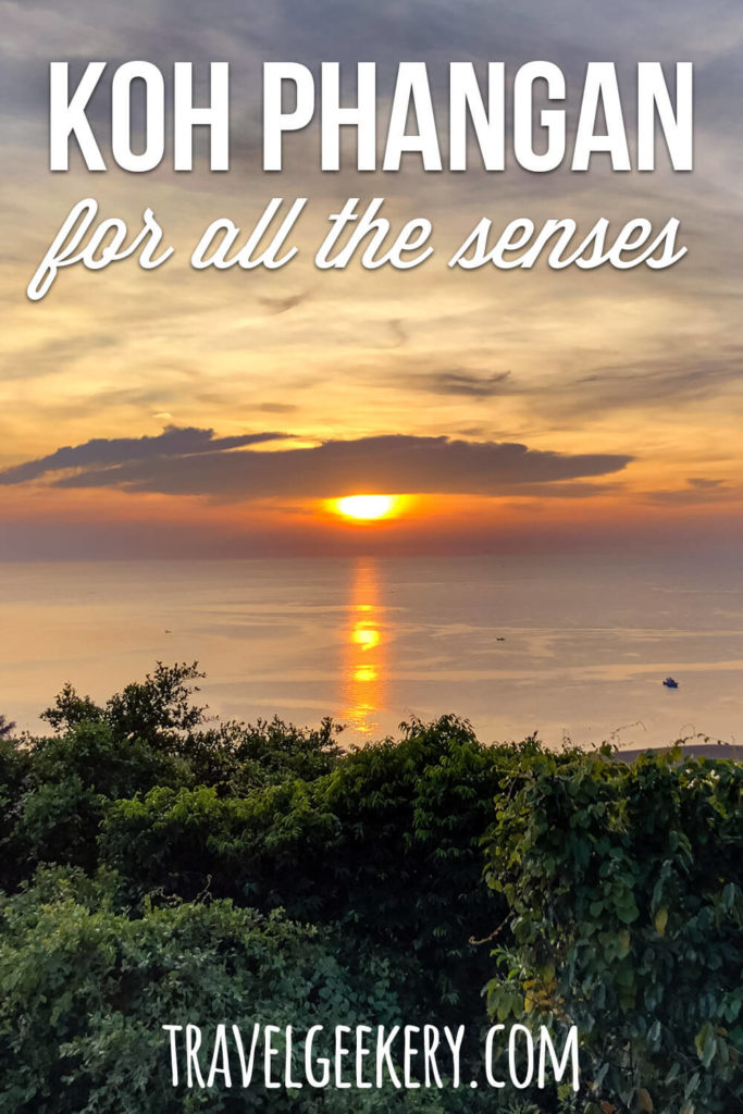 Photo of a sunset in Koh Phangan with text overlay: Koh Phangan for all the senses