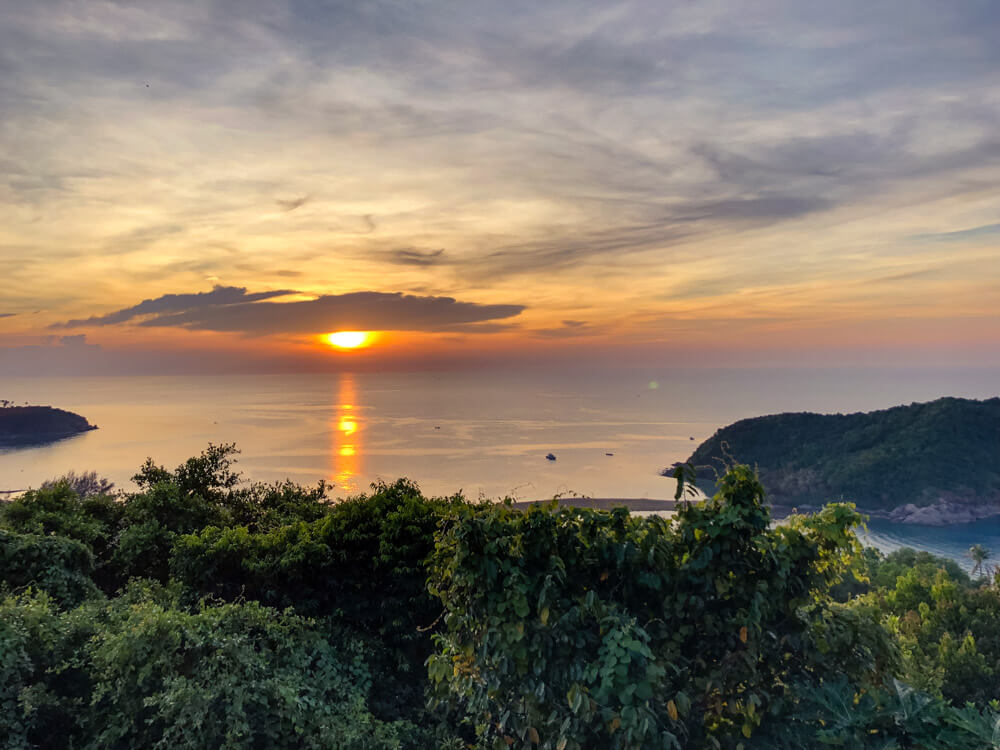 View of sunset from a viewpoint in Koh Phangan Thailand