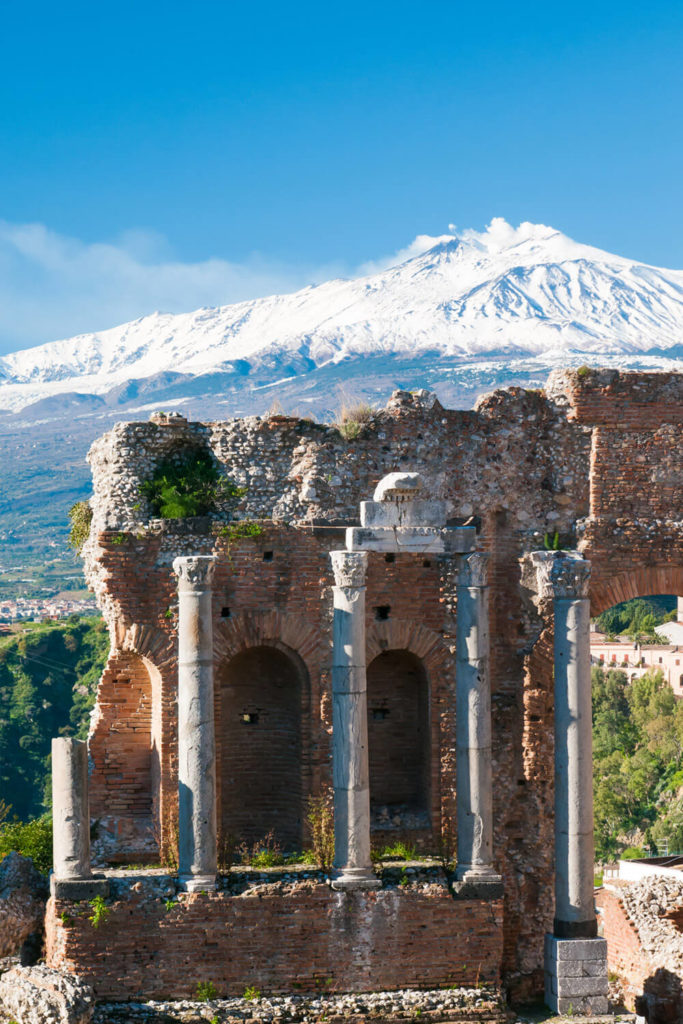 View of Ancient Greek Theatre in Taormina and snowy Mount Etna
