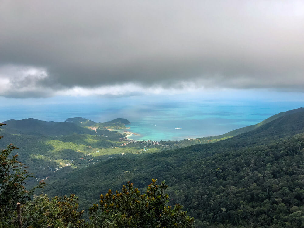 View of a bay in Koh Phangan Thailand from a mountain peak