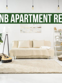 Interior with text overlay: Airbnb Apartment Reviews