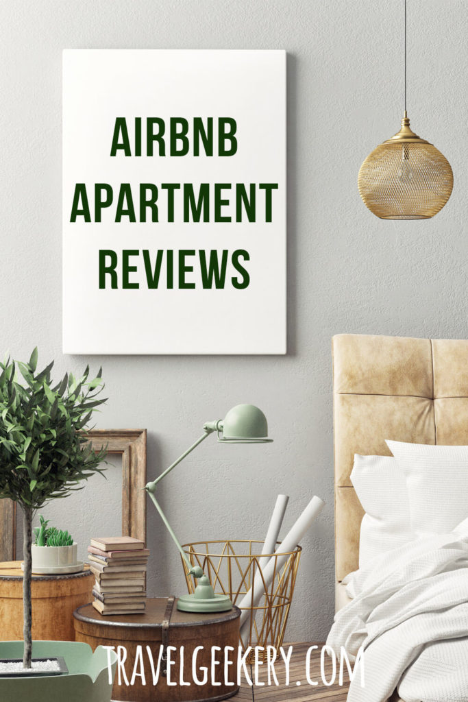 Interior with a text overlay: Airbnb Apartment Reviews