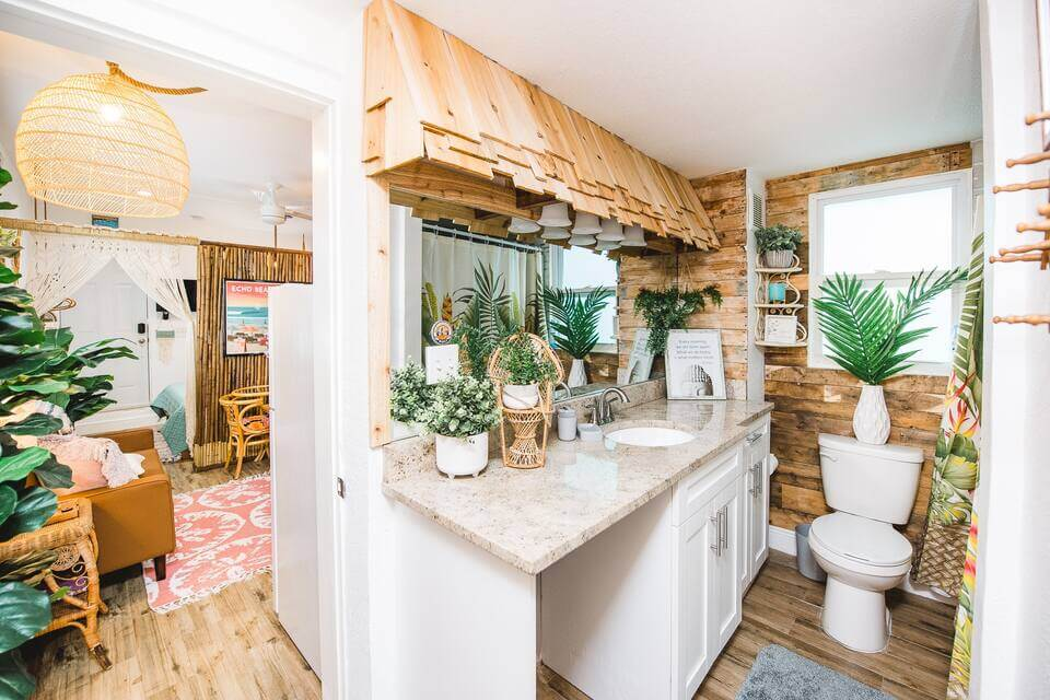 Bali-themed tiny house interior