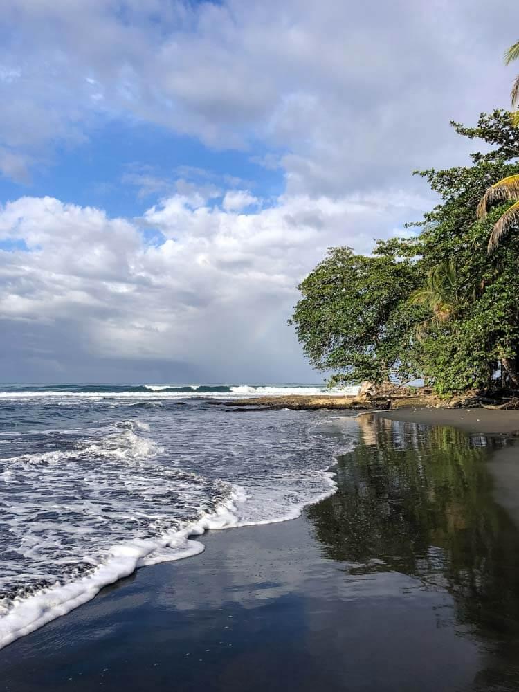 black volcanic beach in Costa Rica