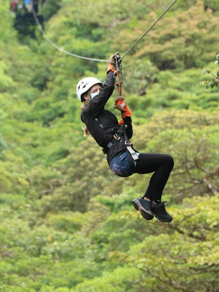 Canopy tour (zipline) in a cloud forest in Costa Rica