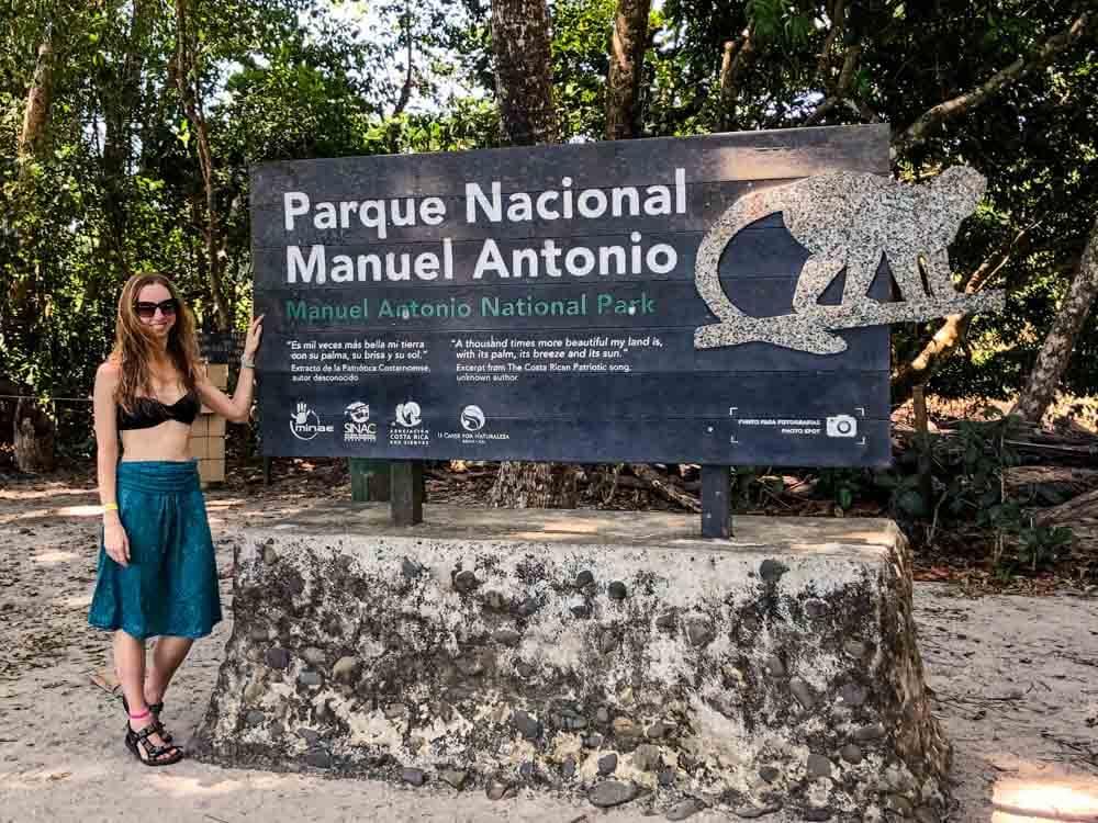 Sign of Manuel Antonio National Park in Costa Rica