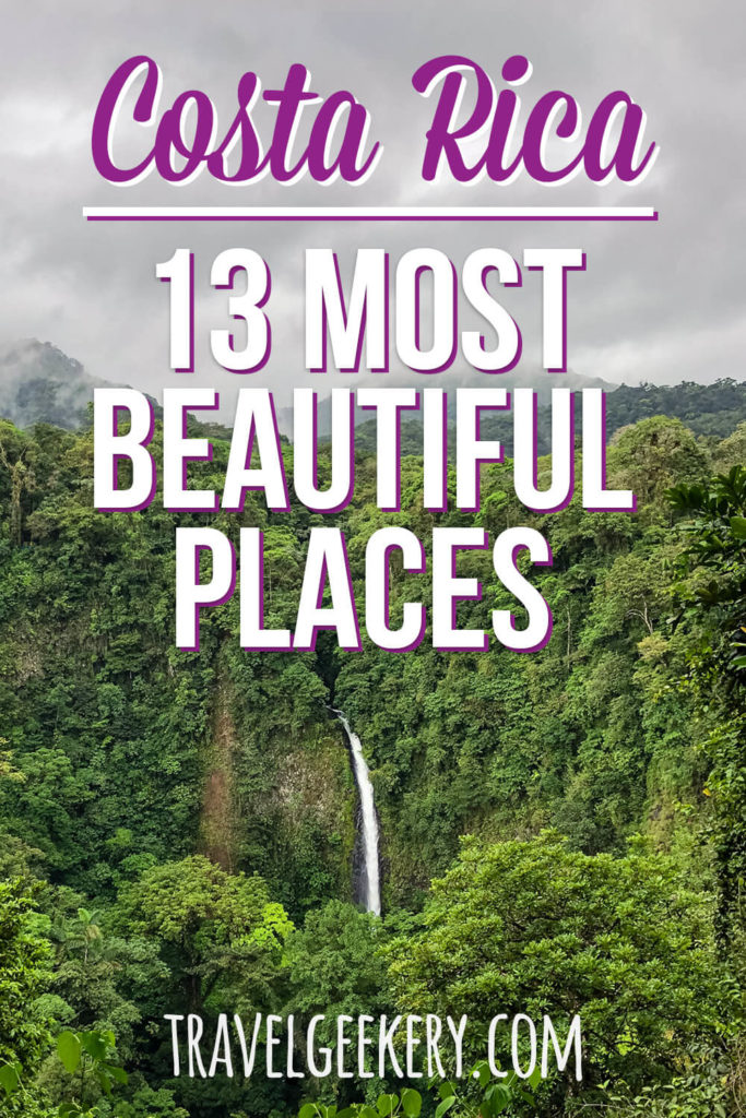 lush greenery and a waterfall with text overlay: Costa Rica - 13 Most Beautiful Places