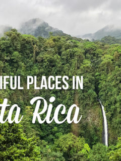 lush greenery and a waterfall with text overlay: Beautiful Places in Costa Rica