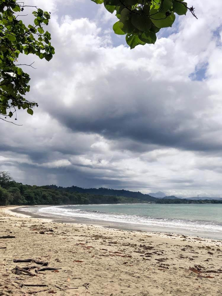tropical beach and dramatic clouds