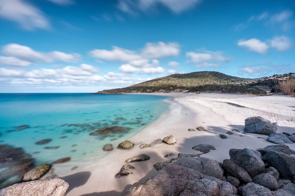 Beautiful white sand beach in Corsica France