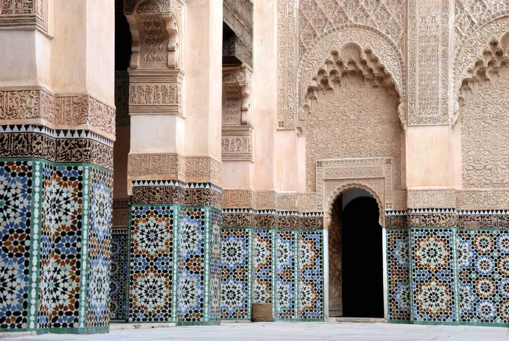 Ornate tilework at an ancient college in Marrakech