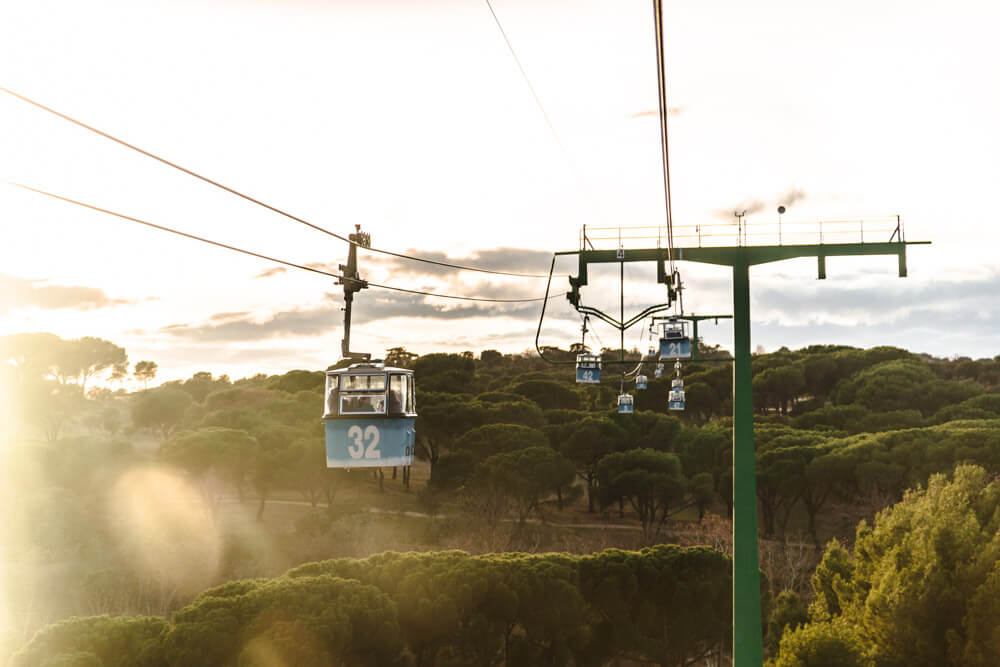 Cable cars above one of Madrid's parks: Casa de Campo