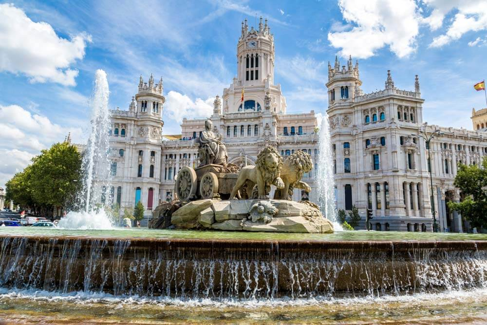 Amazing Architecture in Madrid's Plaza de Cibeles: a fountain and a palace
