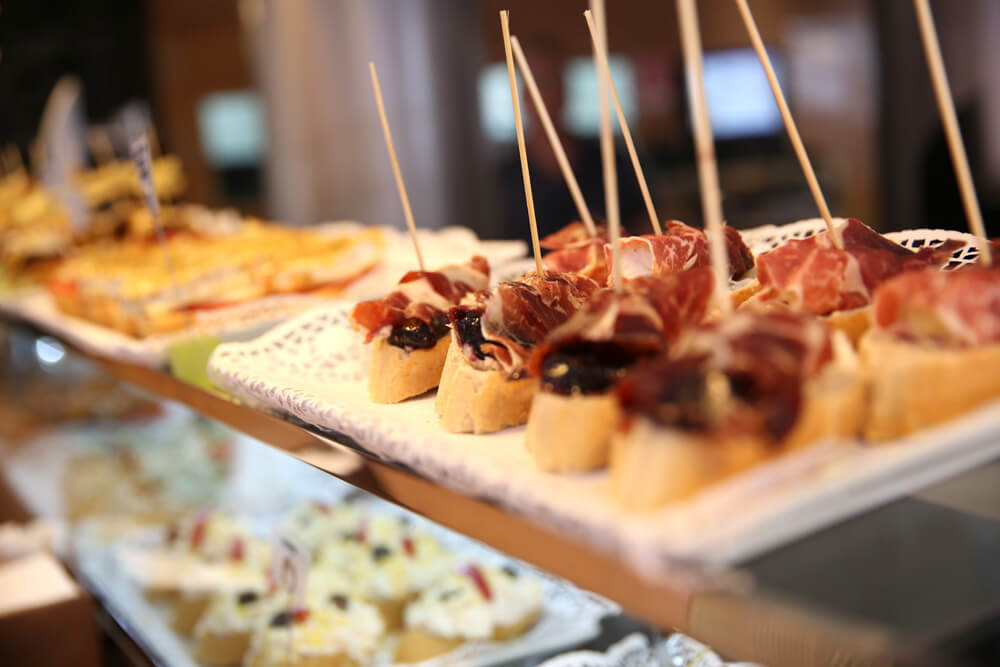 A closeup of tapas in Madrid