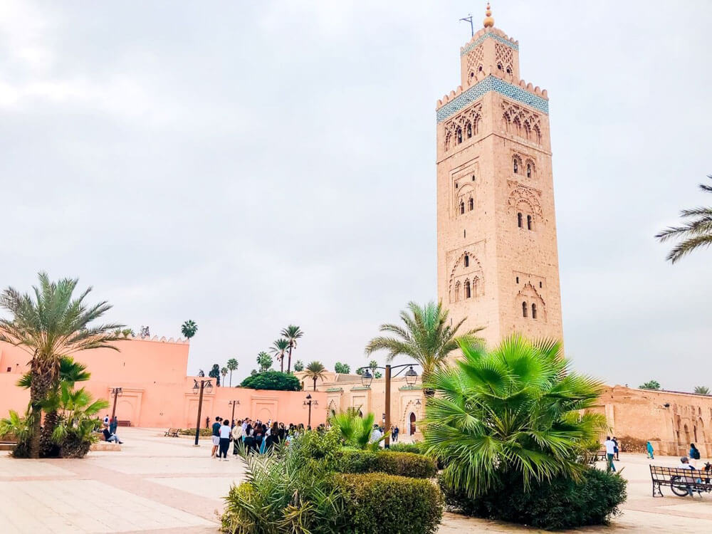A mosque with a large minaret in Marrakech Morocco