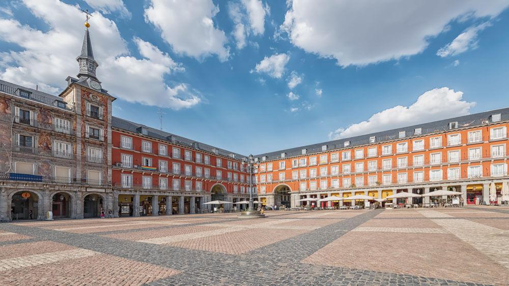 a corner of Madrid's largest square - Plaza Mayor