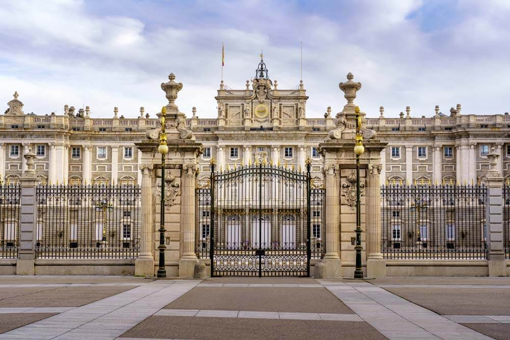 Royal Palace in Madrid with its gate closed