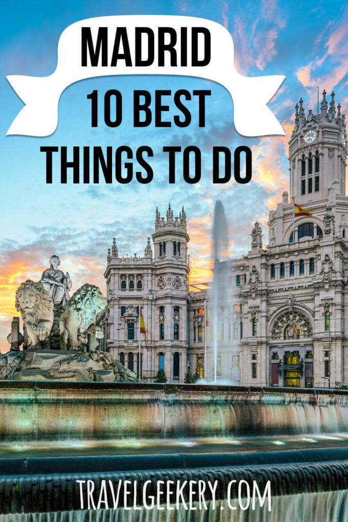 A palace and a fountain with a text overlay: Madrid 10 Best Things to Do