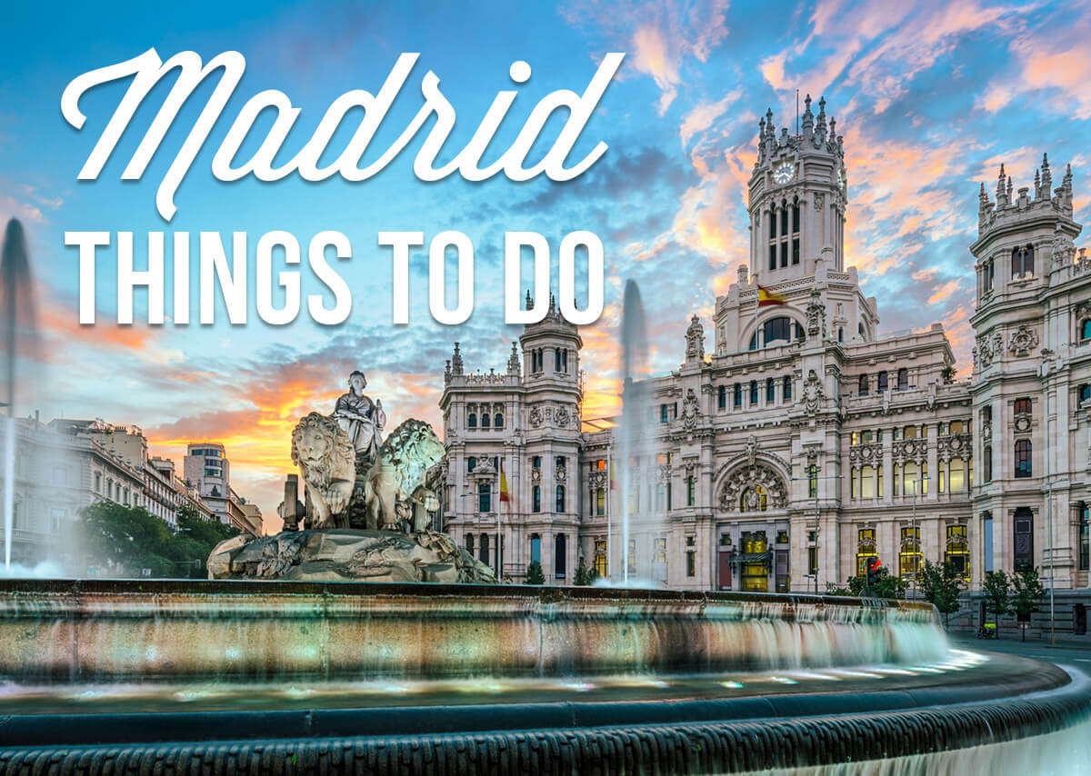 A palace and a fountain with a text overlay: Madrid Things to Do