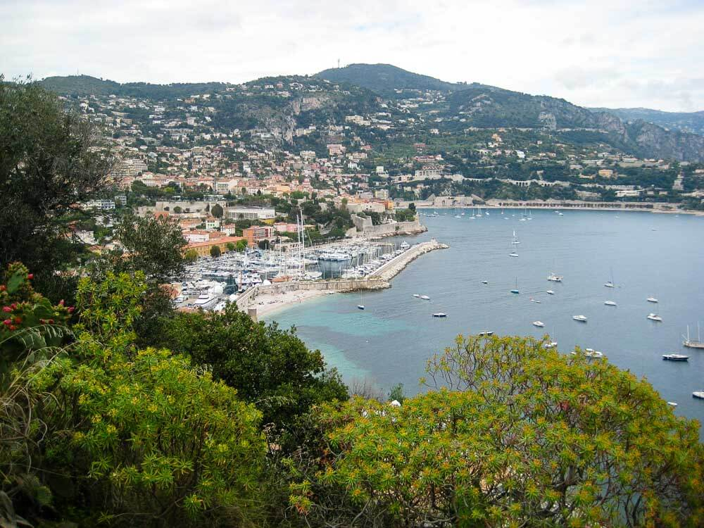 View of Villefranche Bay on the French Riviera from above