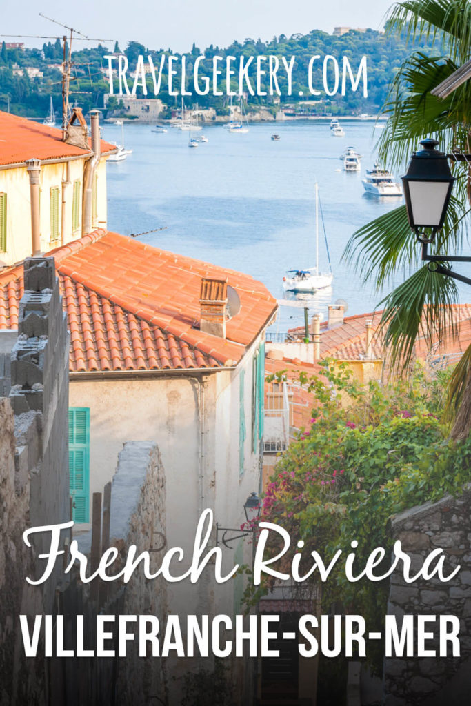 A maze of old streets opening onto the sea with a text overlay: French Riviera - Villefranche-sur-Mer
