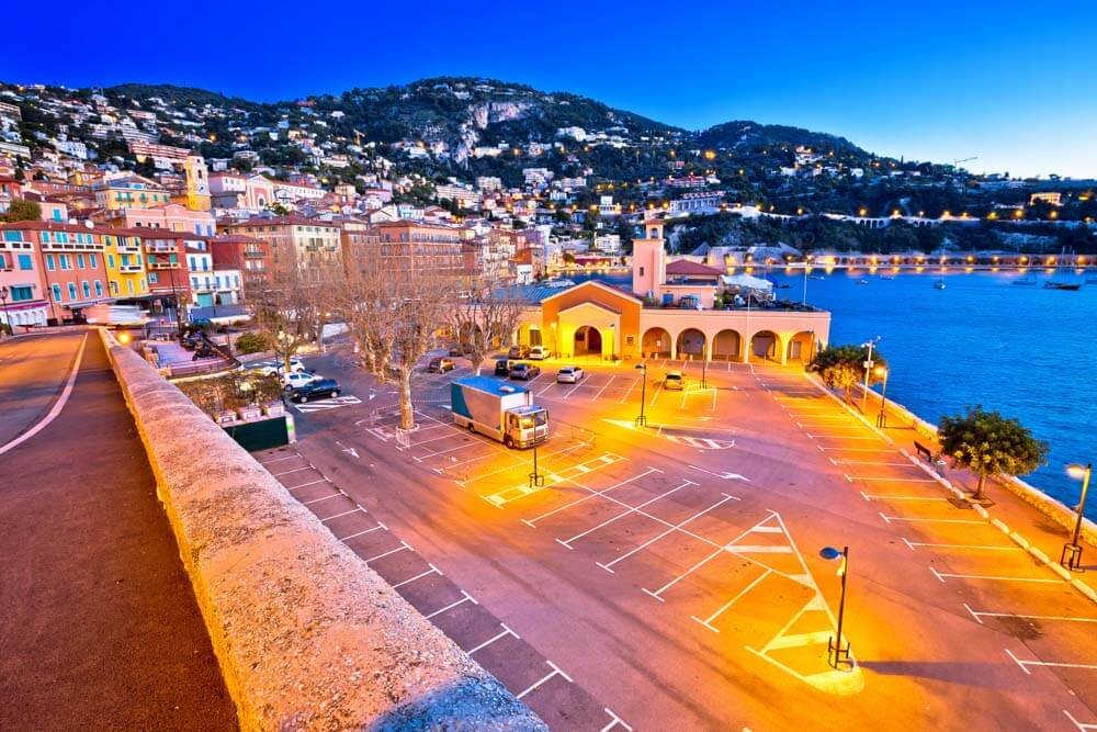 A parking lot by the sea in Villefranche sur Mer near Nice
