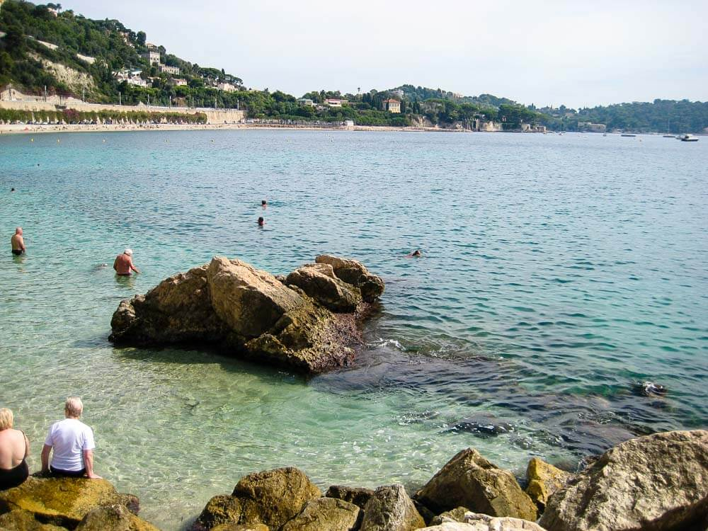 People on a beach on French Riviera