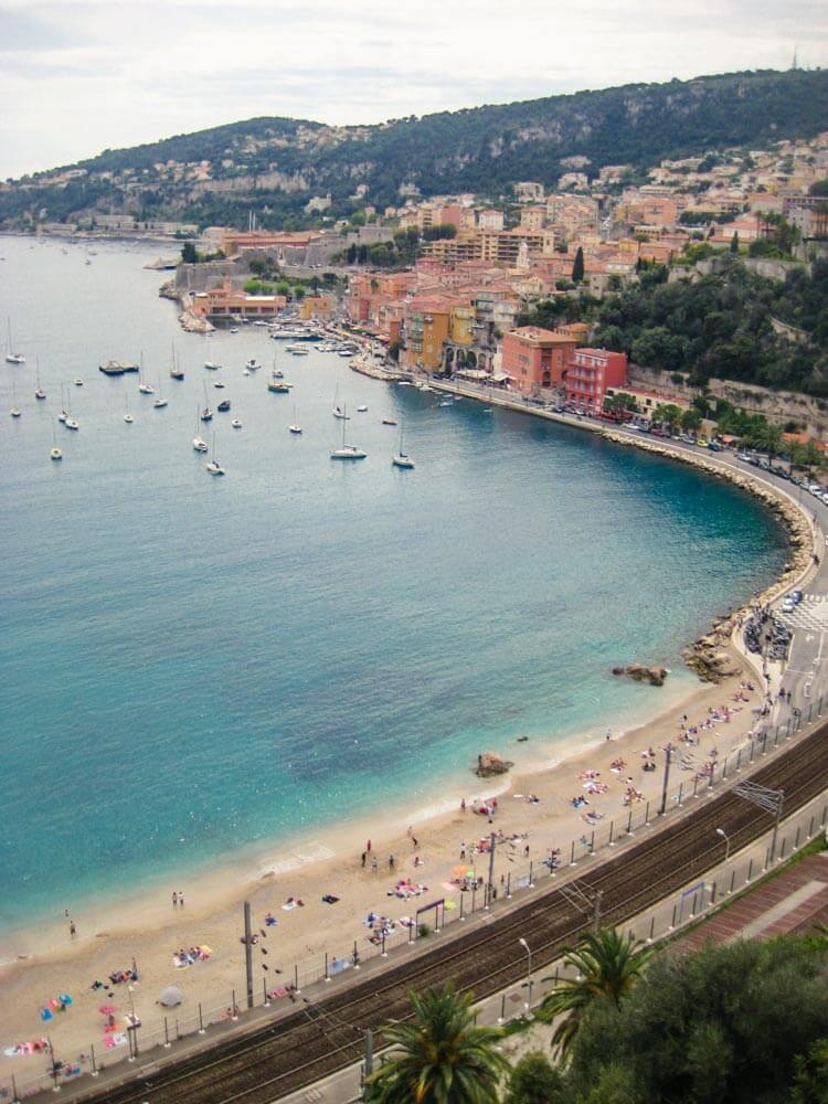 View of the beach in Villefranche sur Mer, France