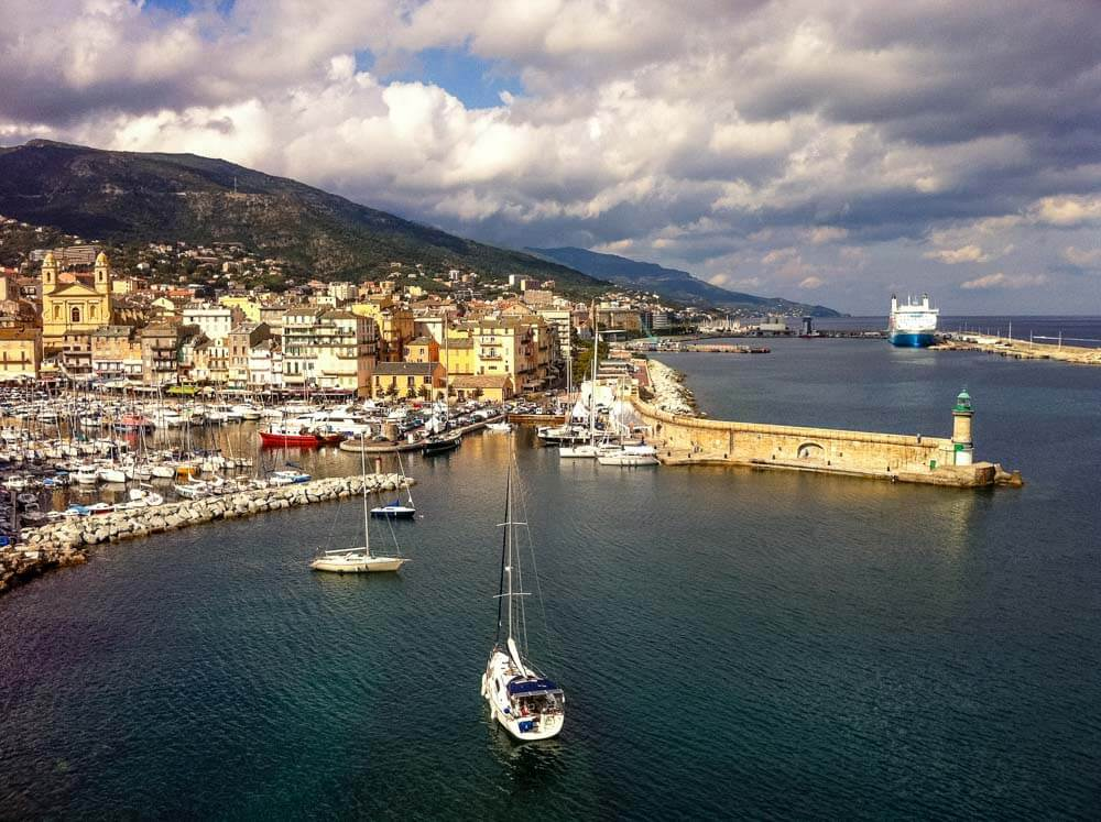 View of a seaside town of Villefranche in France